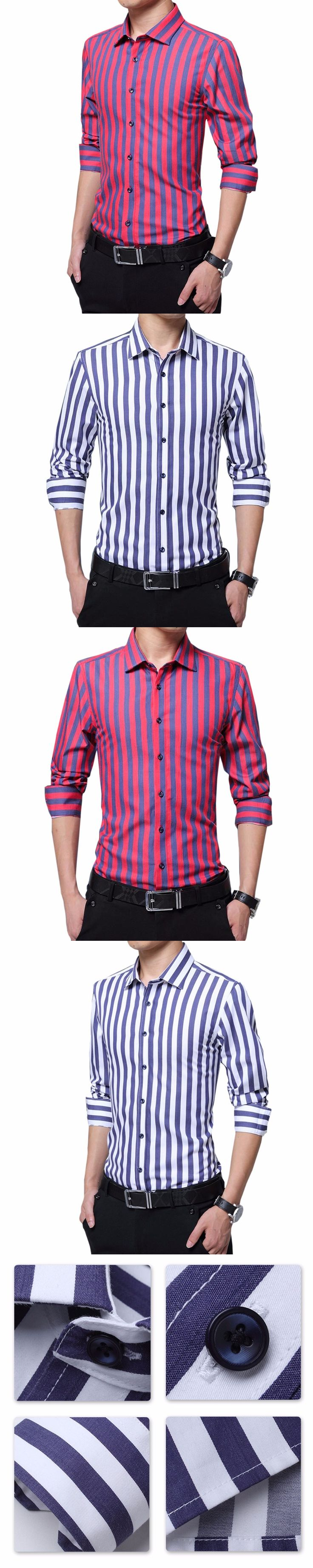 Cloudstyle Fashion Male Striped Shirts  Casual Slim Fit  Long Sleeve Turn-down Collar Dress Shirts Men Formal Pure Color Wears