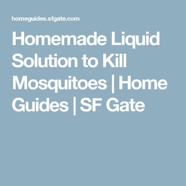 Homemade Liquid Solution to Kill Mosquitoes | Home Guides | SF Gate