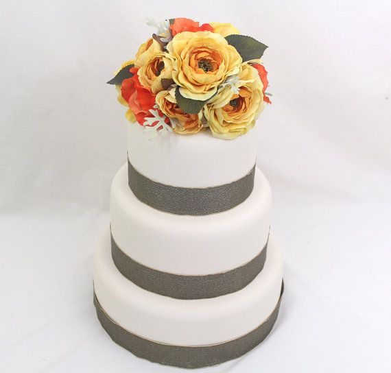 186 best it tops the cake silk floral wedding cake toppers and fall inspired wedding cake topper yellow orange rose silk flower wedding cake topper by ittopsthecake junglespirit Gallery
