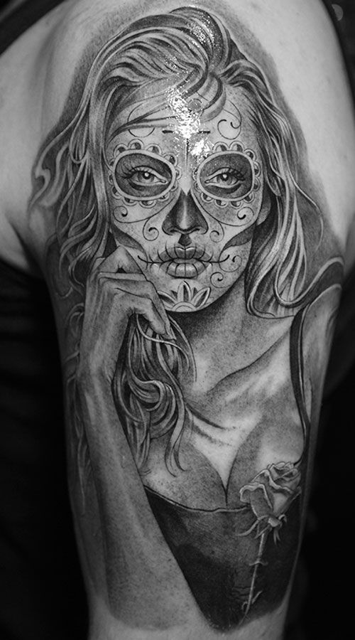 best 25 girl skull tattoos ideas on pinterest sugar. Black Bedroom Furniture Sets. Home Design Ideas