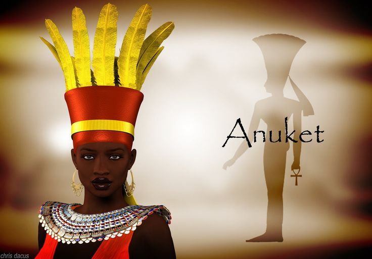 "Anuket (also known as Anket, Anqet, Anjet or Anukis) was a personification of the Nile as ""Nourisher of the Fields"". She was also a goddess of the hunt and was worshipped as a protective deity during childbirth. She was associated with the lower cataracts (near Aswan) and probably originated in Nubia or Sudan. Specifically, she was associated with Setet Island (Sehel island) and Abu (Elephantine) 1st nome of Upper Egypt, and was goddess of everything south of the Egyptian border."