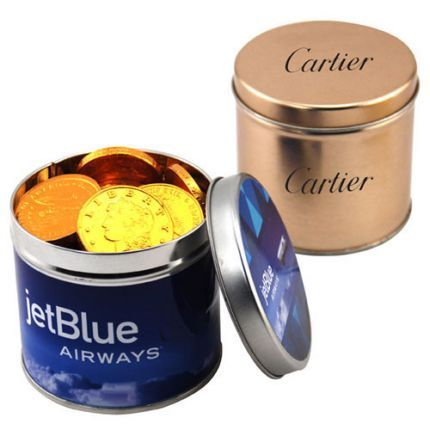 This customized round tin is filled with delicious chocolate coins! Makes a great promotional giveaway or promotional product for both employees and clients alike.