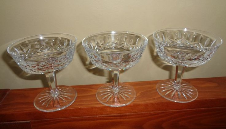 3 vintage waterford lismore crystal tall champagne