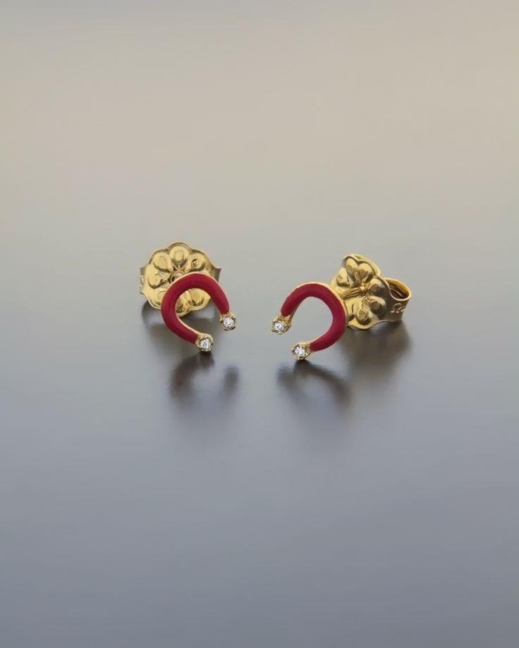Σκουλαρίκια παιδικά χρυσά με Σμάλτο & Ζιργκόν