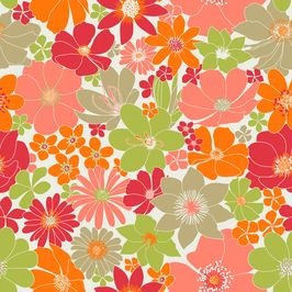 Bright Flowers by Petroula Tsipitori Seamless Repeat Vector Royalty-Free Stock Pattern