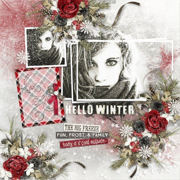 Kit Hello Winter by Raspberry Road Designs. Template Winter Wonderland #2 by Heartstrings Scrap Art. Photo from Devianart.