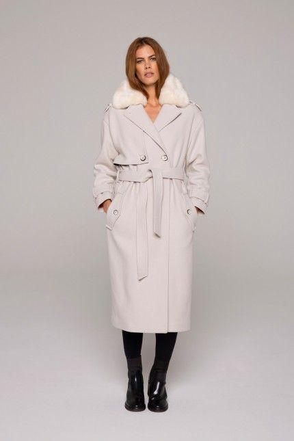 Manteau laine col large
