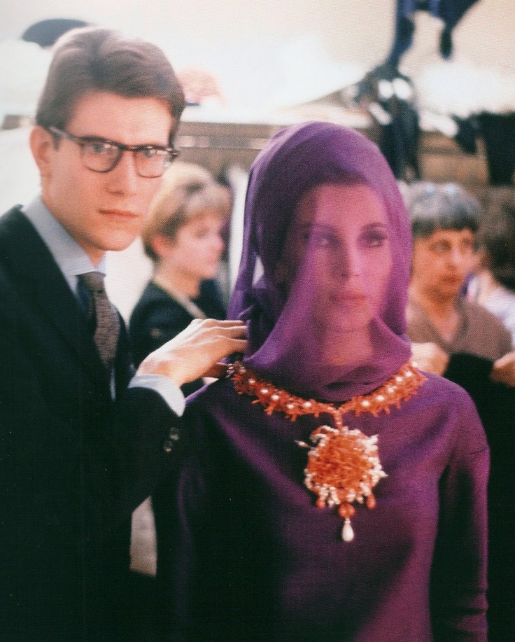 Yves Saint Laurent and Victoire Doutreleau backstage, 29 January 1962.