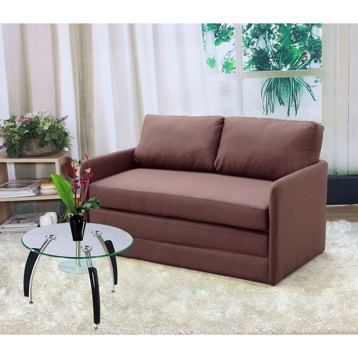 US Pride Furniture Kathy Reversible 5.1 Inches Foam Fabric Loveseat And  Sofa Bed (Brown Reversible