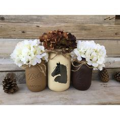Country Western Decor Horse Decor Rustic Country Decor Cowboy Decor... ($25) ❤️ liked on Polyvore featuring home, home decor, grey, home & living, home dé️️️️cor, horse home decor, cowboy home decor, clear glass jars, grey home decor and gray home decor