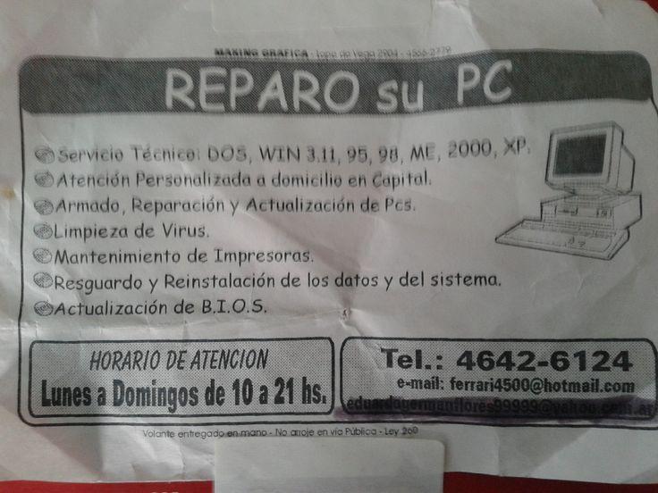 Soporte tecnico de PC presupesto y consulta sin cargo enviar e mail a germanflores2276@gmail.com 12 años en el rubro.