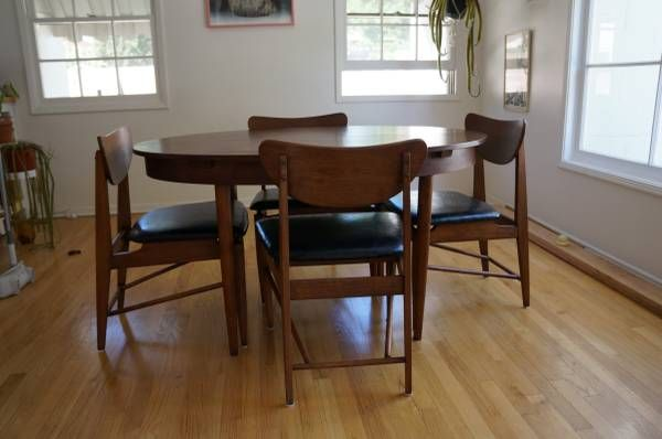 Vintage Mid Century Schreiber Dining Table Set W 4 Chairs Dining Table Setting Dining Table Table Settings