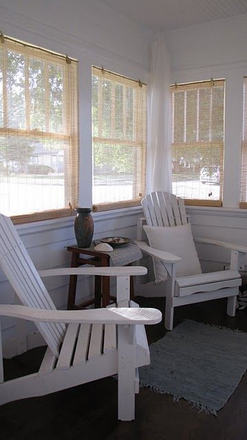 Or maybe paint it all white?  Similar Sunroom style to ours... I like these kind of blinds