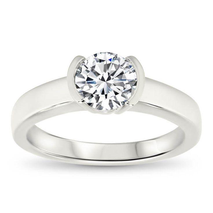 Half Bezel Set Engagement Ring - Mia