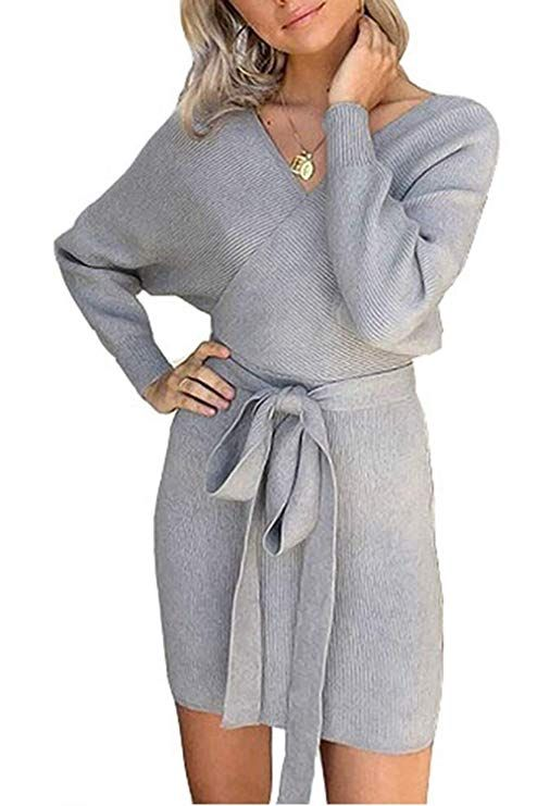 984c55d57f1 Yidarton Sweater Women s Jumper Dress Sexy Elegant Backless V-Neck Knitted  Batwing Long Sleeve for Ladies with Belt (Grey