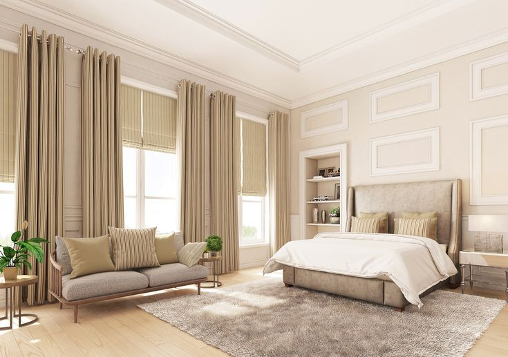 Harper Natural blinds with Harper Latte curtains from Style Studio. 2018 home interiors trends. Reflect home decor inspiration. Neutral window dressings. Floor length bedroom curtains. Roman blinds. Contemporary retro home decor inspiration.