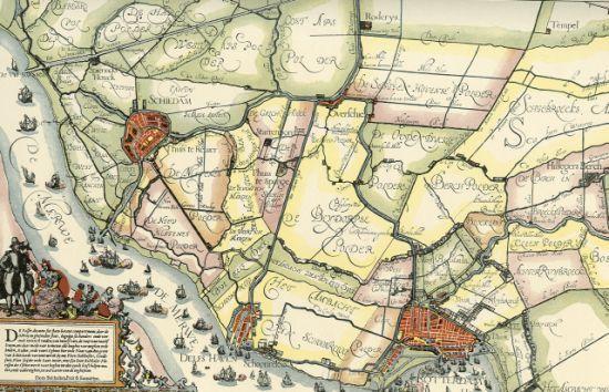 1700 Rotterdam De Maas heet nog steeds De Merwe Ook is zeer fraai te zien dat Schiedam door verzanding niet meer aan De Merwe ligt. Rechts van Schiedam Huis Riviere.nog wat verder naar rechts Starrenburg, daaronder Thuis te Spangen
