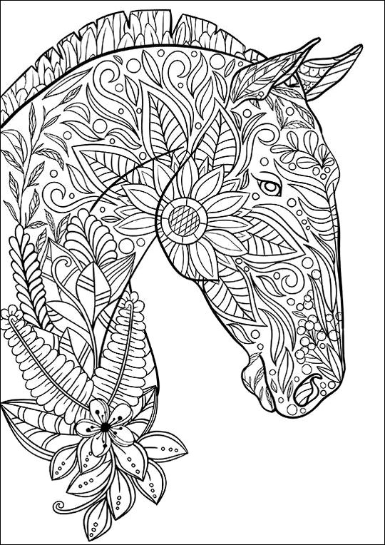 Coloring page horse | Crafts | Coloring pages, Horse ... | free printable animal mandala coloring pages for adults