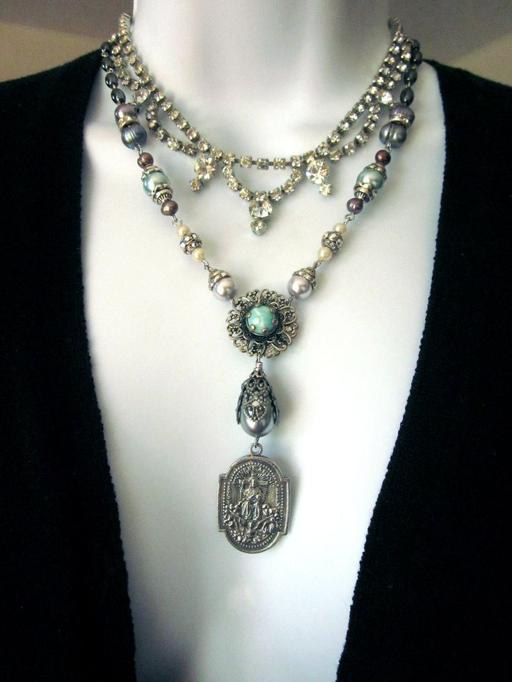 17 best images about necklace layering trend on pinterest for Repurposed vintage jewelry designers