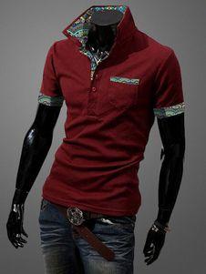 Impresión de camisa de Polo roja manga corta Slim Fit camiseta de los hombres
