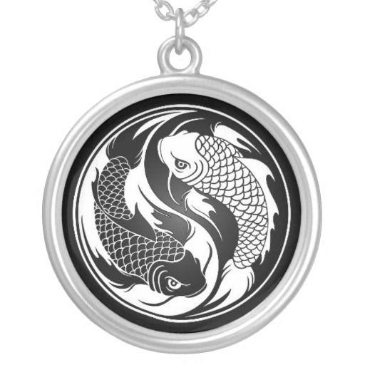 Weiße und schwarze Yin Yang Koi Fische Halskette Mit Rundem Anhänger