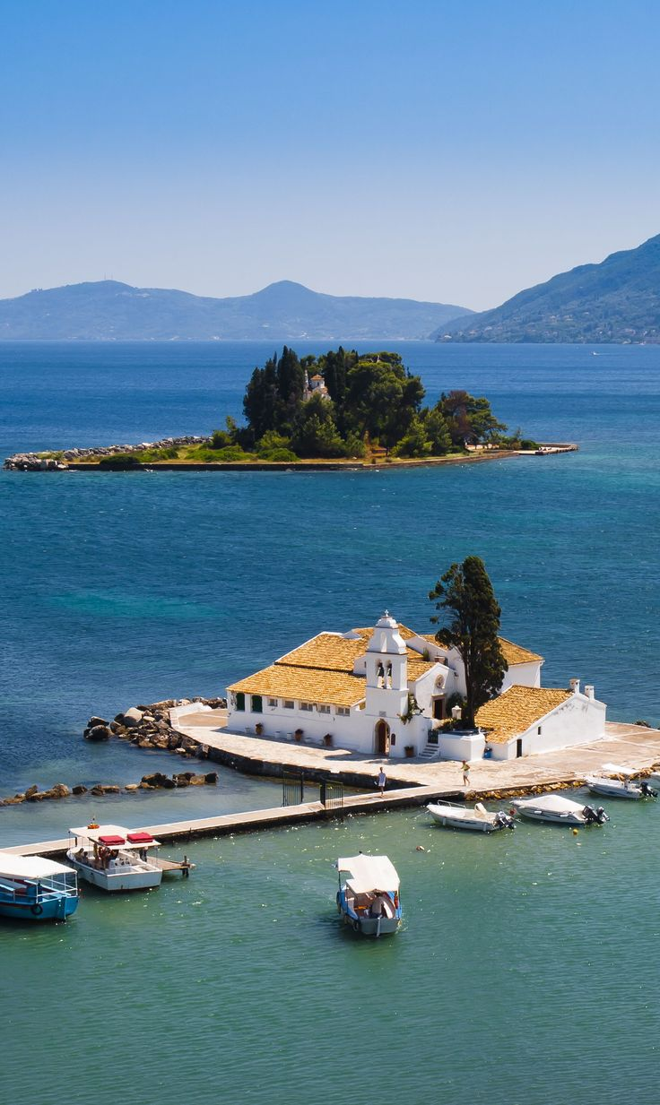 Church of Panagia Vlaherna and Pontikonisi  (Mouse island) in the background, Corfu island, Ionian Sea, Greece