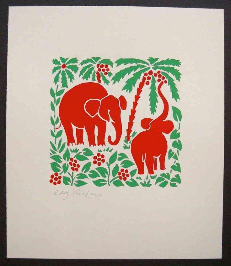 Stencilprint, elephants