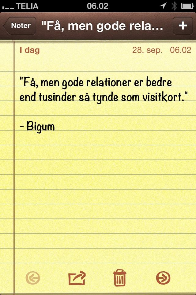 """""""Få, men gode relationer er bedre end tusinder så tynde som visitkort."""" (dagens citat af @thomasbigum)"""