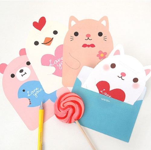 Cute animal letter set