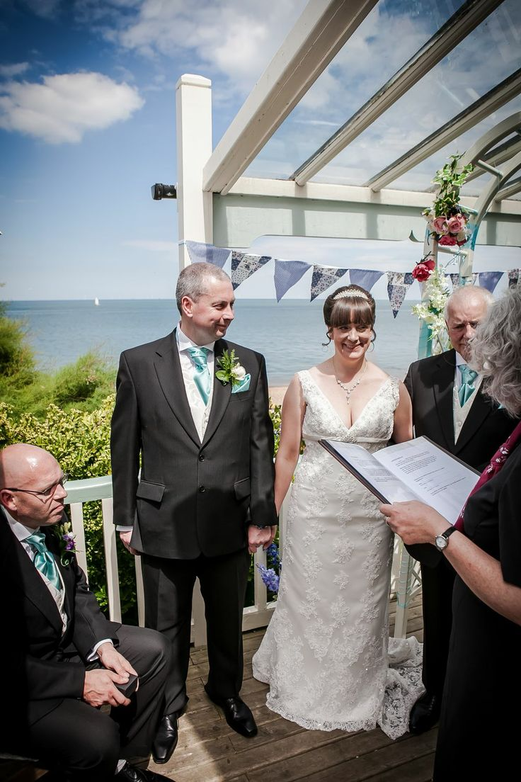 The beginning of the wedding ceremony on the terrace at Beacon House.