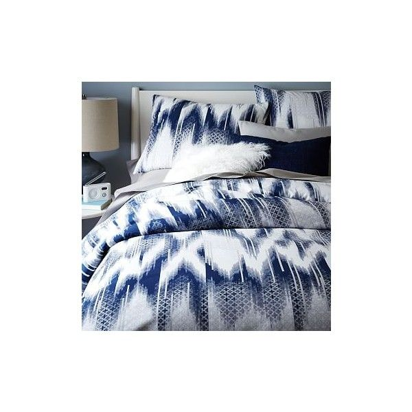 West Elm Organic Ikat Fading Tile Duvet Cover, Full/Queen, Nightshade... ($99) ❤ liked on Polyvore featuring home, bed & bath, bedding, duvet covers, blue, blue pillow shams, west elm bedding, sports bedding, blue shams and blue ikat bedding