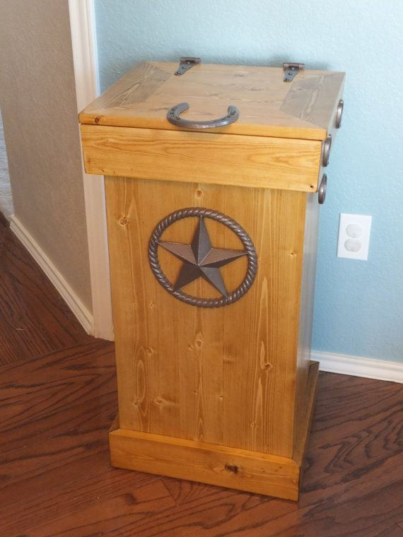 Wooden Decorative Kitchen Garbage Cans Feature Ochre Wood Square Trash Can  With Star Decor And Square Wood Lid.