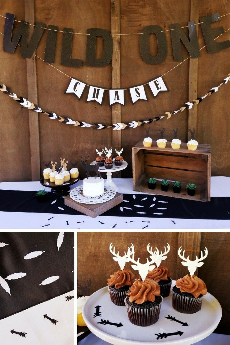 Wild One Party Theme. How to throw a Wild One Party theme. First Birthday PArty Themes, First Birthday Party Ideas. Cute First Birthday Party, Deer Baby Shower Theme, Baby Deer Party. Black and White Party Themes. Boho Party Themes. White Feathers, Boho Glitter Banners, Deer Cupcake Toppers, Deer Cake Toppers, Baby Deer Theme. Wild One Deer Theme. Antler Decorations.