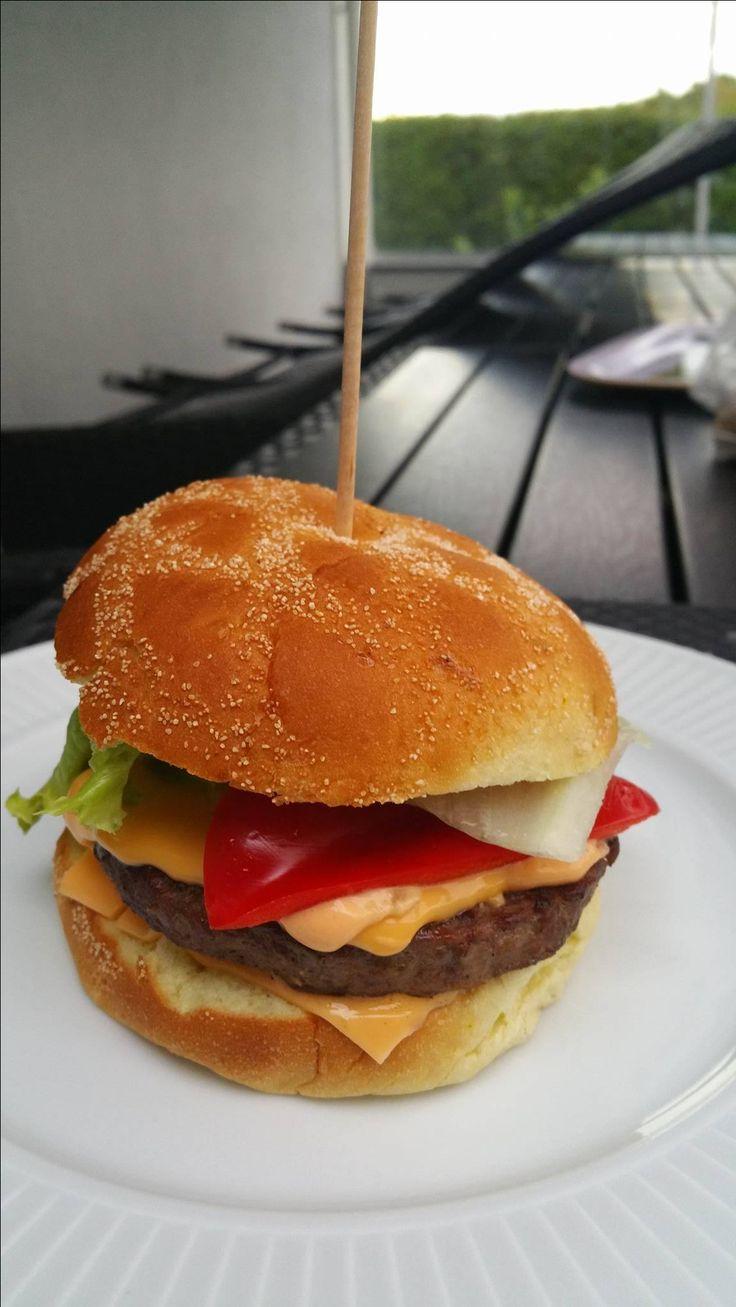 Home-made hamburger.