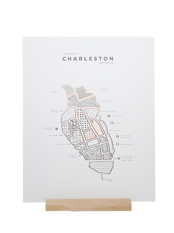 ROAM by 42Pressed letterpress and shiny copper Foiled 16 x 20 map print of Charleston, SC. Printed on 100 LB. bright white paper