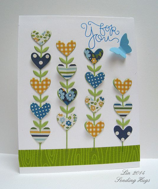 handmade card: SSS Have a Heart by quilterlin ... pretty card with die cuts ... heart flowers ... great use of scraps or coordinating papers ... washi tape grass ... like it!