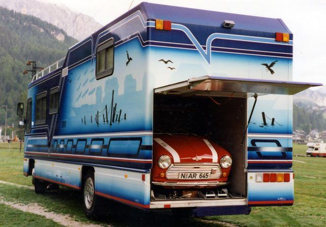 Motorhome complete with toad garage