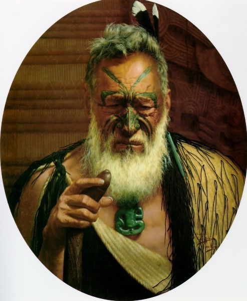 Tikitere Mihi - A Chieftain of the Ngatiuenuku, 1908 by Charles Goldie (New Zealand 1870 - 1947)