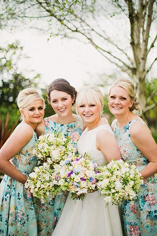 gorgeous bride Stacey and her vintage style bridesmaids   onefabday.com