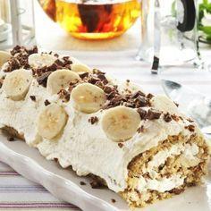 Luksusrull med banan, hasselnøtter og sjokolade. Oppskrift - må prøves!!