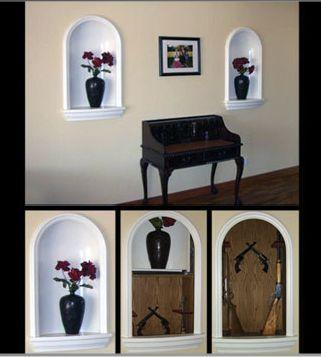 Vase Shelf Slides Up To Reveal Hidden Armoury.