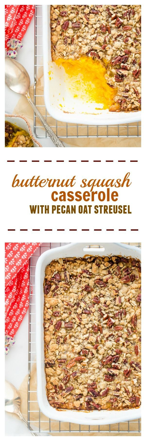 Butternut Squash Casserole with Pecan Oat Streusel is classic sweet potato casserole with a delicious butternut squash twist! @FlavortheMoment