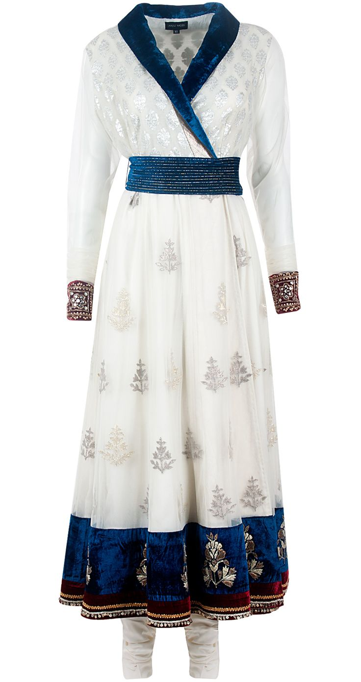 Ivory chanderi angrakha long dress set by ANJU MODI. Shop at http://www.perniaspopupshop.com/designers-1/anju-modi/anju-modi-7632