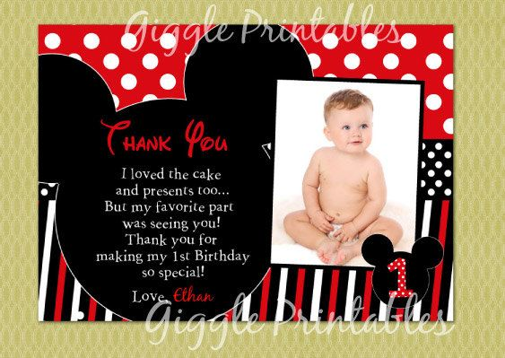 Mickey Mouse Birthday Thank You Card by GigglePrintables on Etsy, $8.00 (in glassine bags tied with bakes twine or red raffia)