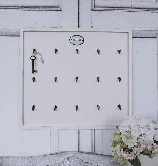 meble - regały i półki-Tablica duza na klucze Shabby Vintage biala anty
