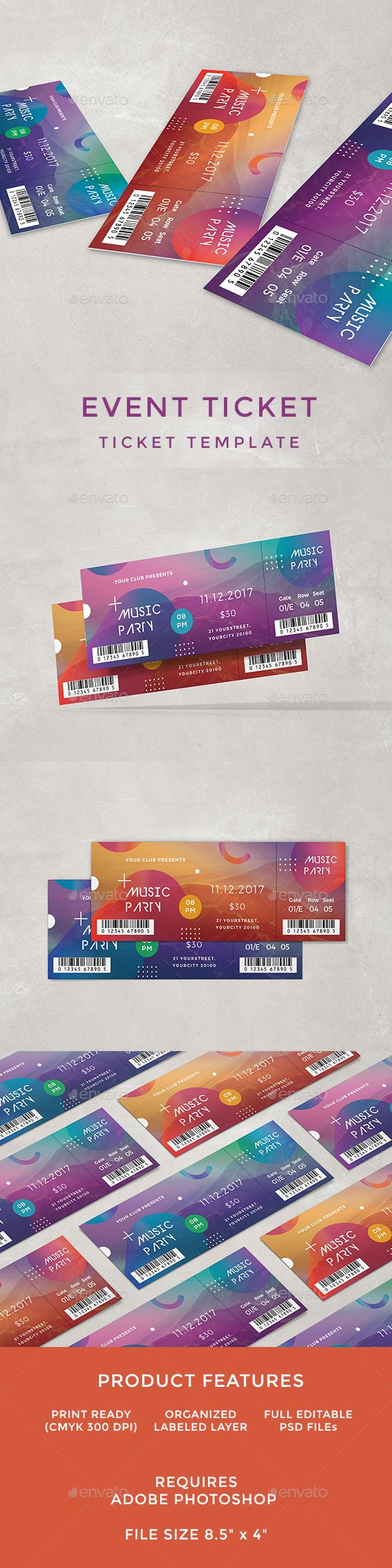 Event Ticket - Cards & Invites Print Templates Download here: https://graphicriver.net/item/event-ticket/19545116?ref=classicdesignp