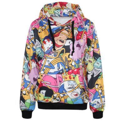 G225 adventure time Coat With Pocket 3d Digital Print Pullovers Sports Suit sweatshirts harajuku hoodies punk