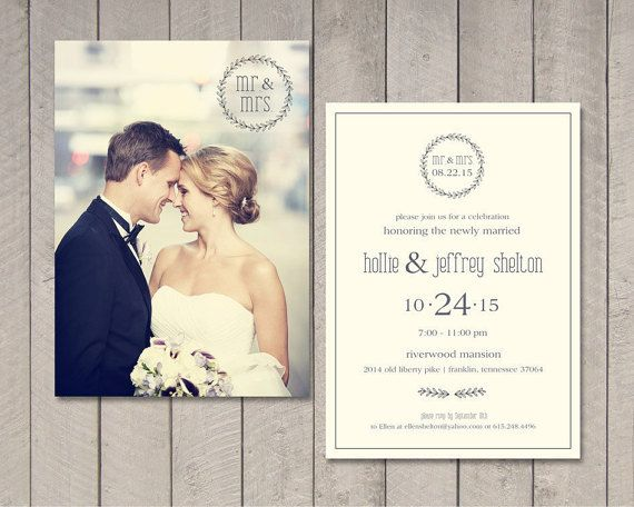 Modern Wedding Reception Invitation by vintagesweetdesign on Etsy