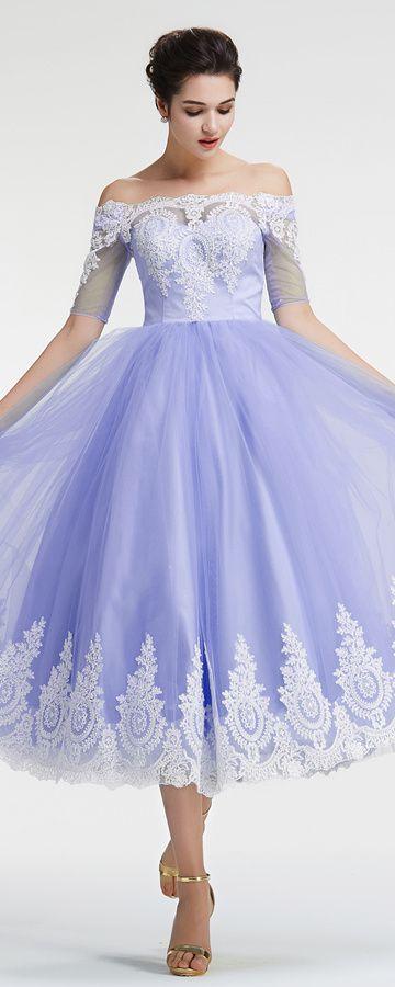 Off the shoulder homecoming dresses with sleeves lavender vintage prom dresses tea length