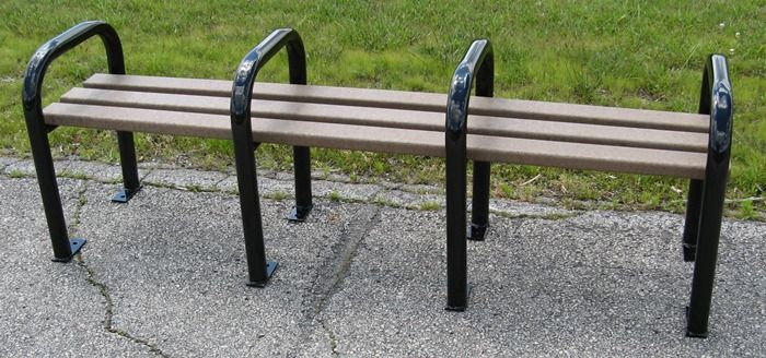 seats primarily 3 people- Recycled Plastic Backless Park Bench - OCC Outdoors-
